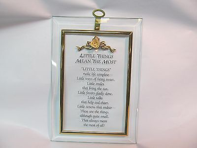 (BEVELED GLASS LITTLE THINGS MEAN THE MOST WALL HANGING PLAQUE WITH ROSE FLOWER)