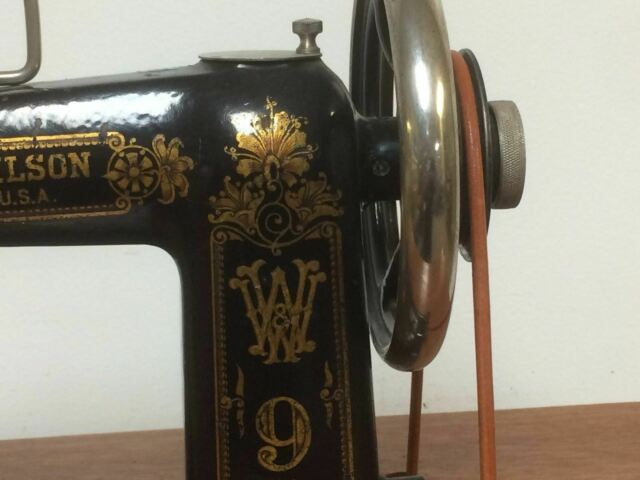Wheeler & Wilson Treadle Sewing Machine No 9 & Box with Attachments