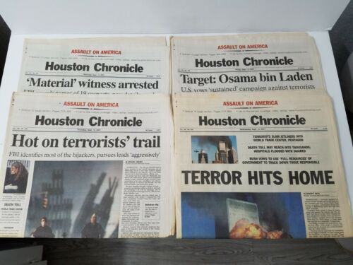 X4 HOUSTON CHRONICLE 9/11 2001 ASSAULT ON AMERICA NEWSPAPERS ALL COMPLETE