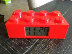 Red Kid's LEGO ALARM CLOCK Child's Room Building Brick Blocks Collectible