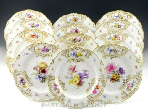 "Antique Meissen DRESDEN FLOWERS INSECTS BUGS GOLD GILT 9.5"" DINNER PLATES Set 12"