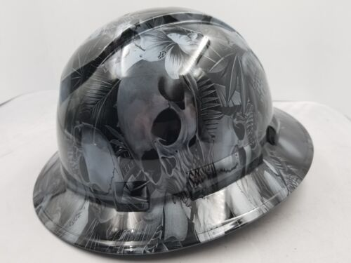 FULL BRIM Hard Hat custom hydro dipped , NEW PARADISE LOST SKULLS GUNMETAL NEW 2