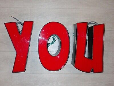 The Word You Letter Y O U Hard Wired Lights Sign