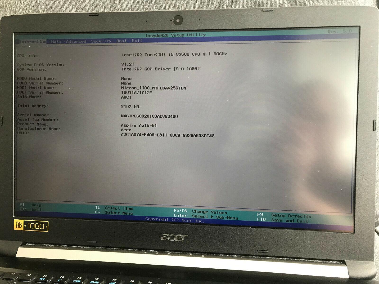 Acer Aspire A515-51-592H Intel i5-8250U 8GB RAM 256GB SSD neuwertig Notebook