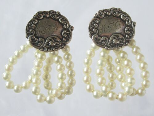 Foree Hunsicker Sterling Silver Luggage Tag Pearl Dangle Earrings