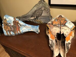 6 indian painted bones;signed;60.00 each
