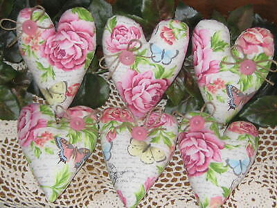 6 Floral Fabric Hearts Springtime Tree Ornaments Wreath Making Country Decor - $22.95