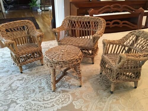 Antique wicker doll furniture