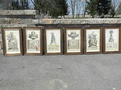 VTG ANTIQUE FRENCH MONUMENS CHARLES DELAFOSSE ART COLORED ENGRAVING ETCHING