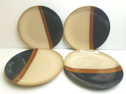 "4 Sango Tempo Black 5170 11 1/4"" Beige Brown Stoneware Replacement Dinner Plates"
