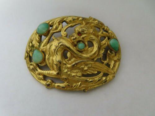 Antique Victorian Griffin Dragon Gold Gilt Brass Czech Glass Brooch