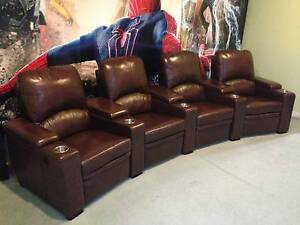 4 Seater Complete Brown Leather Full Electric Home Theatre Lounge Berwick Casey Area Preview