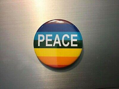 PRIDE RAINBOW PEACE BUTTON Gay Pride LGBTQIA Stonewall HRC Equality PFLAG Drag