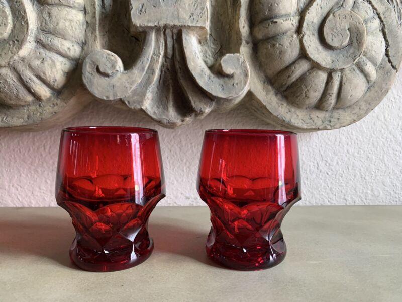 VINTAGE RUBY RED GEORGIAN HONEYCOMB DRINKING GLASSES
