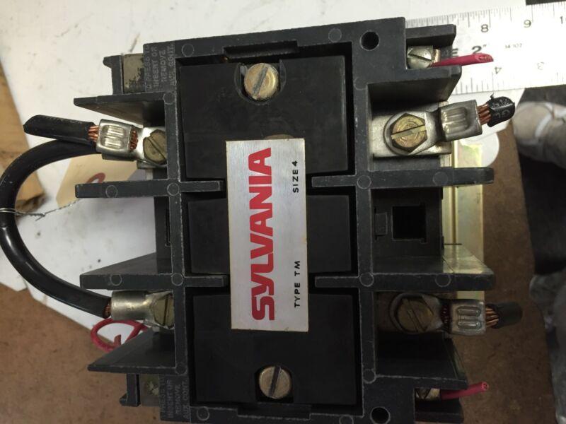 USED SYLVANIA T77U024 TYPE TM CONTACTOR, SIZE 4, 150 AMP,480V,BOXZA