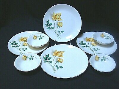 4 Dinner Plate Bowls Canonsburg Sky Line Simplicity Yellow Rose Gold Rim Vintage