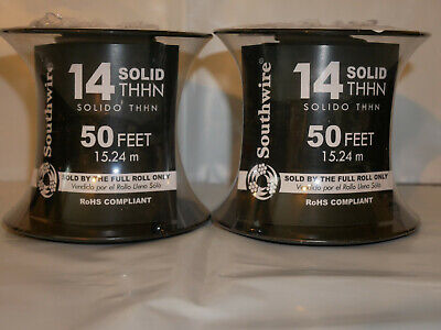 Qty 2 Rolls - Southwire 50-ft 14-awg -solid- White Jacket- Copper- Thhn Wire