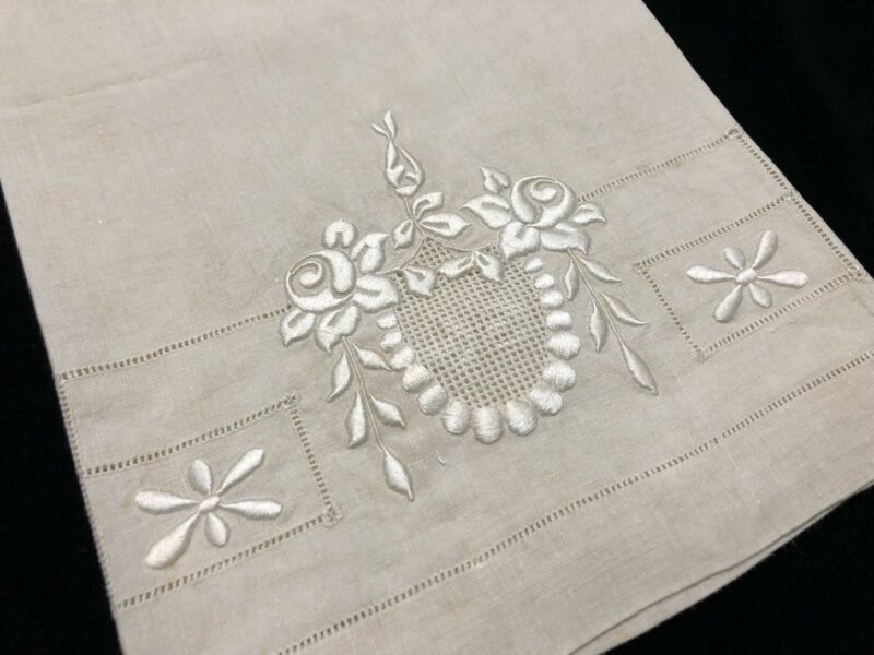 Antique Linen Hand Towel w/ Exquisite Floral Embroidery & Drawn-Thread (RF816)