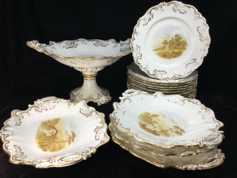 (17) Old Paris Porcelain (?) Scenic BRUNCH/DESSERT SET (Tazzas/Compote/Plates)
