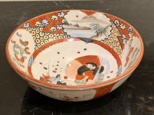 Fine Japanese Imari Porcelain Bowl with Landscape and Figures Decoration