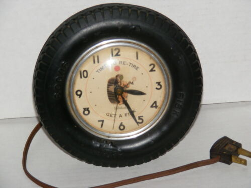 Vintage FISK TIRE Clock Time To Re-tire