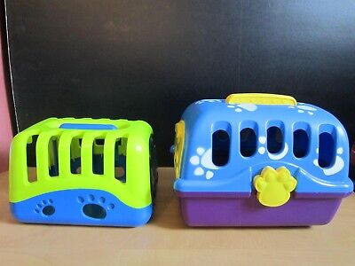 Lot of 2 Pretend Play Hard Plastic Pet Carriers for Pretend Pet Dogs--Clean
