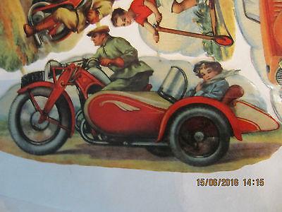 1 alter Oblaten Bogen-Glanzbilder.Motorräder Java-Autos ca.von 1939