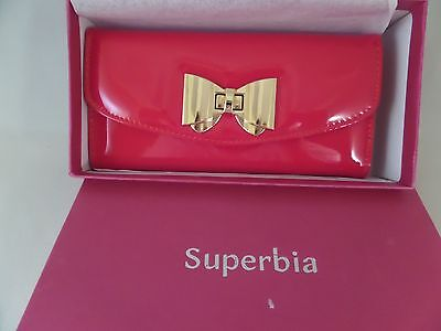 NIB Glossed & Found Wallet in RED by Superbia Faux Leather Clutch CANDY RED