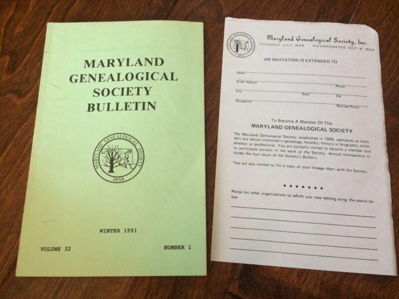 1991 Maryland Genealogical Society Bulletin Governor Pardon1787-1789 Free Blacks