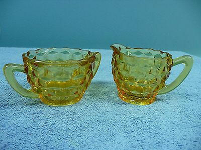 Vintage Jeannette Glass Co. Depression Amber Cube Glass Cream and Sugar Set