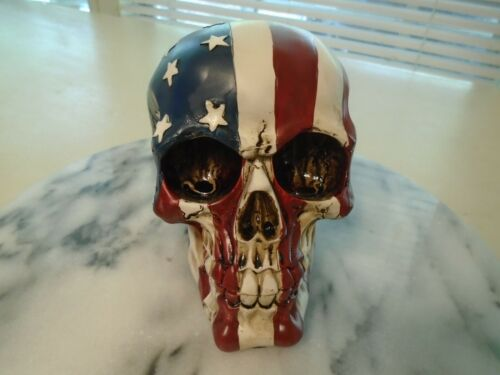 Glory Skull USA Flag Statue Figurine Skeleton Dead Head Very Detailed New