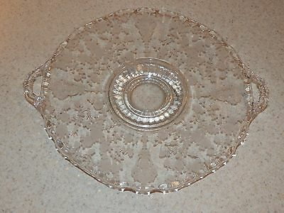 CAMBRIDGE GLASS ROSE POINT FOOTED HANDLED PLATE OR TRAY 8""