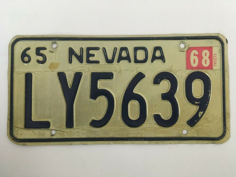 1968 Nevada License Plate Natural Sticker