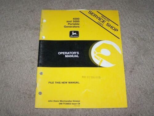 John Deere Used 4000 & 5000 Portable Generators Operators Manual A2