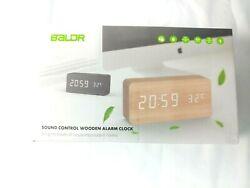 BALDR FBA_B9299 Wooden Digital Alarm Clock Wood White Light