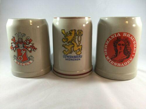 Lot of 3 Vintage West German Stoneware Beer Stein Mug Weisbaden Munich Beck 0.5L