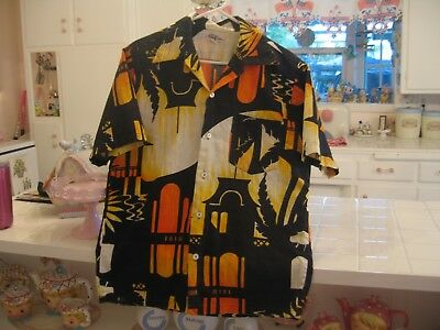 Men's Vintage 60's/ 70's  HUKILAU FASHIONS Hawaiian Shirt Bright Colors Size M