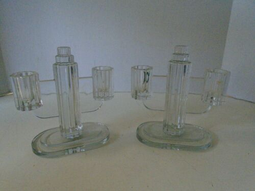 Art Deco Double Candlestick Holders Pair Pyramid Oval Base Clear Glass 2 Column