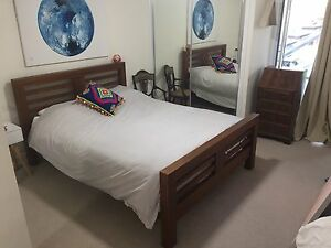 Lovely Dark Timber Queen Bed Frame With Good Quality Mattress Cannon Hill Brisbane South East Preview
