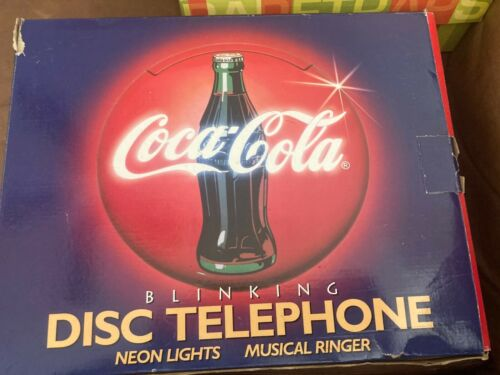 1995 Coca-Cola Blinking Light Disc Telephone With Box And Instruction Manual