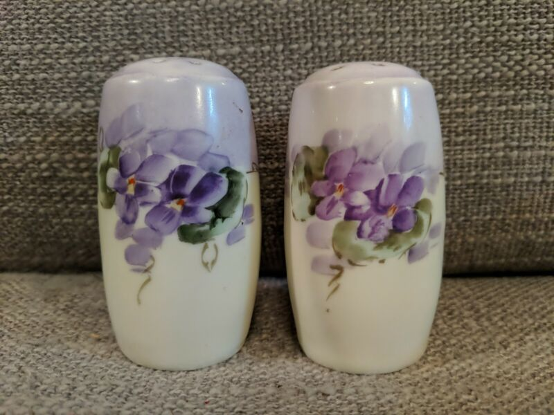 Hand-painted Porcelain Salt And Pepper Shakers With Violas - Bavaria