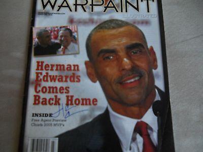 Herm Edwards Autographed Warpaint Magazine Dated 3/2006