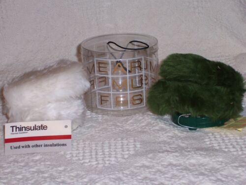 (860)-Vtg-NEW-2 Ladies Adjustable Ear Muffs-White (Thinsulate) & Green-Faux Fur