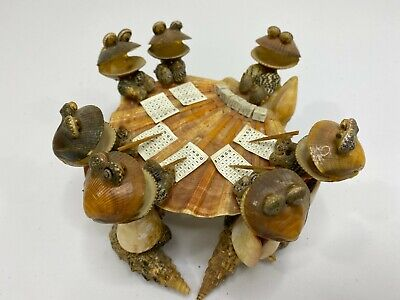 Vintage Seashell Frogs Playing Bingo Handcrafted Sculpture Souvenir Collectible