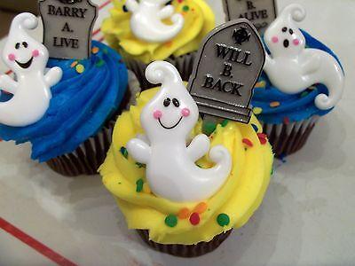 24pc Ghost & Tombstone Cupcake Picks Halloween Party Cake Topper  Fall  Baker - Halloween Party Cake