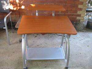 Home/Office Work Desk - Two Tier (Wood And Metal) Rock Solid On R Brunswick East Moreland Area Preview