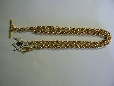 Stunning Bright Gold Plated Belcher Albert Pocket Watch Chain with Masonic Fob