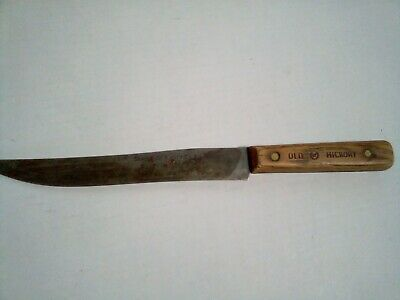 VINTAGE OLD HICKORY SHAPLEIGH'S 1843 HAMMER FORGED CARBON STEEL BUTCHER KNIFE