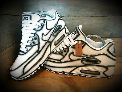 Nike Air Max 90/Custom Painted/White-Black/Ultra/Essential/ID/Force