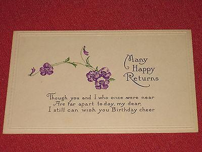 Antique Many Happy Returns Birthday Embossed  Postcard NOS EXC
